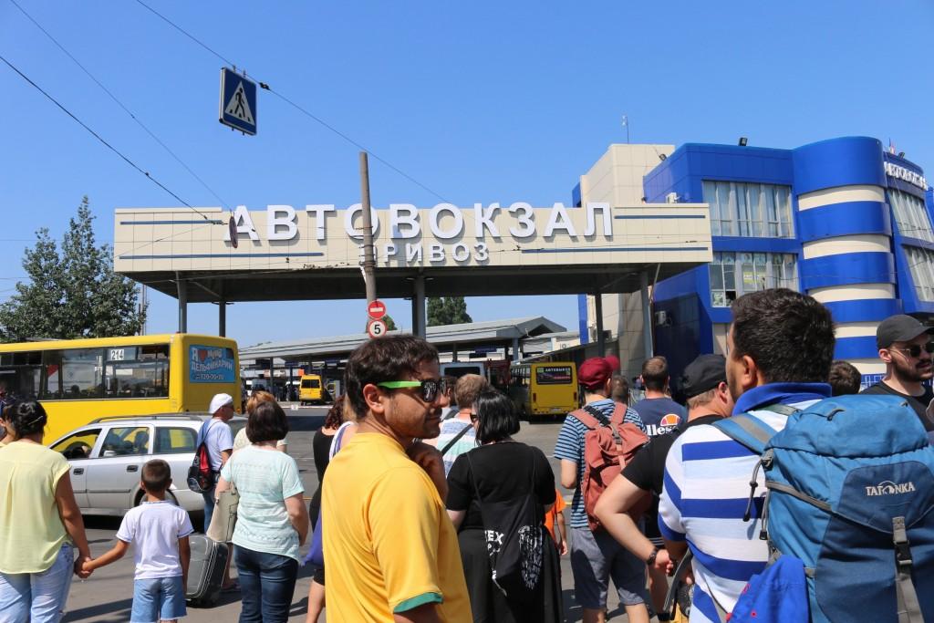 Ankunft am Busbahnhof in Odessa